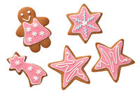 Christmas Gingerbread Cookies With Pink Icing Isolated