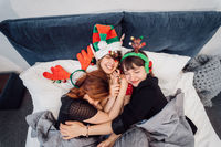 Gorgeous Smiling Female Models Having Fun And Enjoying Pajamas Party