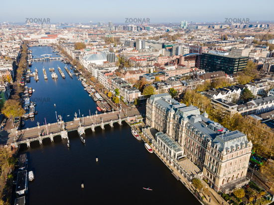 Amsterdam, The Netherlands, 7th November 2020 Aerial view of the Amstel Hotel in Amsterdam And the river Amstel, City hall and Hermitage autumn