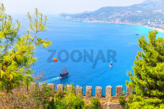 View from the fortress on the sea of Alanya, Turkey