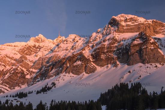 Alpstein massif with mountain Saentis in evening light, winter landscape, Canton Appenzell Ausserrho