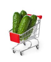Fresh cucumbers in shopping cart