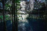 Man jumping into Oxman cenote from swing with blue water and tropical plants, Yucatan, Mexico