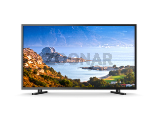 Television Set with Screen Showing Kos Greek Island Landscape on White Background 3D Illustration
