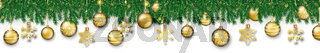Green Christmas Branches Golden Hanging Baubles Snowflakes White Header