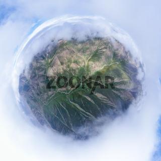 beautiful spherical panorama of misty mountains