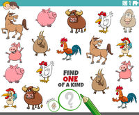 one of a kind task for children with farm animals
