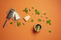 Making pesto sauce and ingredients. Authentic Italian pesto recipe
