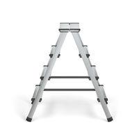 Aluminum stepladder on white