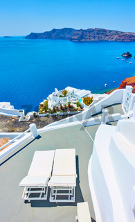 Terrace with chaises longues in Santorini