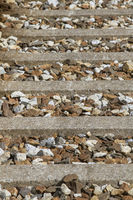 Detailed view - railway sleepers and track ballast