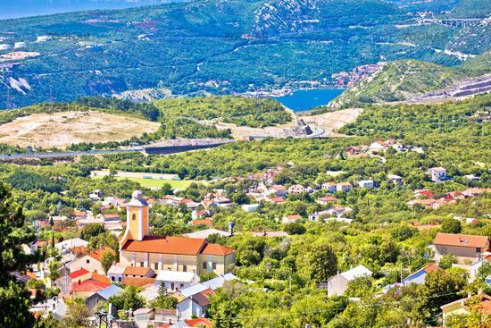 Village of Hreljin above Kvarner bay scenic view