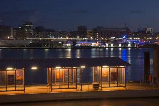 Pier in the harbor aof Hamburg, Germany, nightshot