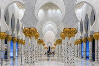 Columns of Sheikh Zayed Grand Mosque in Abu Dhabi, UAE