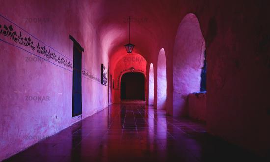 Corridor with arch reflections of the monestary Convent de San Bernardino de Siena, Valladlid Mexico