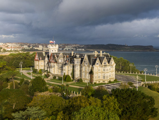 Aerial view of the Magdalena Palace in Santander