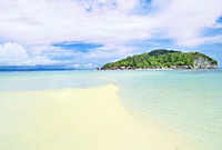 Sandbar in front of the island of Kri Raja Ampat Indonesia