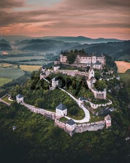 Hochosterwitz Castle on the hill in Austria (Osterreich) aerial view