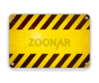 Bright glossy metal plate, warning sign template on white