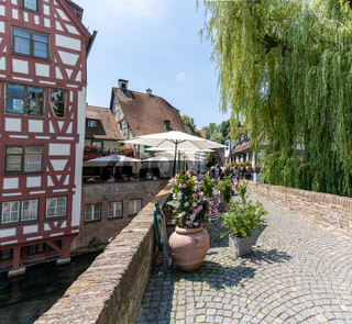 view of the historic Fishermen's District in Ulm with resturants and canals