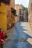 Alley branching from Moez Street at Gamalia district, Cairo, Egypt, during Covid-19 lockdown period