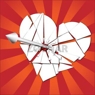broken heart pierced by an arrow