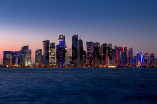 Doha Skyscrapers and Evening