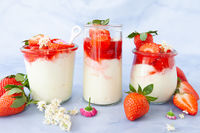 Creamy dessert with strawberries