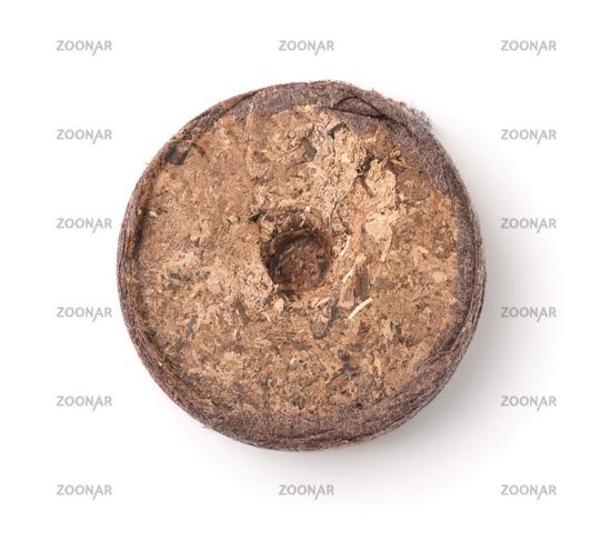 Top view of single dry peat pellet