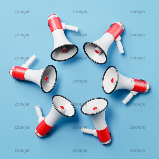 Bullhorns Arranged in a Circle on Blue Background