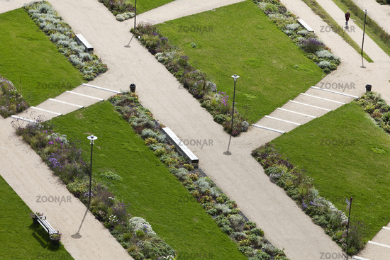 Green area for the state horticultural show from above, Bad Iburg, Lower Saxony, Germany, Europe