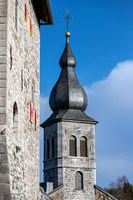 Low angle view at the tower of church Saint Lucia in Stolberg, Eifel