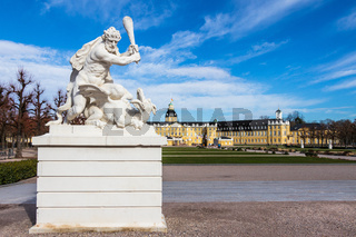 Sculpture with Castle Garden, Square and Castle Karlsruhe. In Baden-Wuerttemberg, Germany. Europe