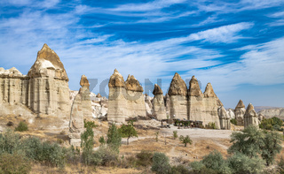 Rock formations in Love Valley, Cappadocia, Turkey.