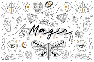 Magic Hand drawn, doodle, sketch line style set. Witchcraft symbols.Ethnic esoteric collection with hands, moon, crystals, plant, eye, palmistry and other magical elements. Vector illustration