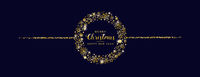 Golden Snowflakes Blue Merry Christmas Header