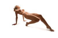 Nude fitness model posing isolated view