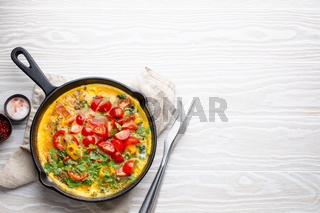 Italian frittata with eggs and vegetables