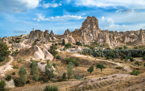 Uchisar natural rock castle and town, Cappadocia, Central Anatolia, Turkey