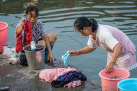 Chinese women doing laundry in Fenghuang