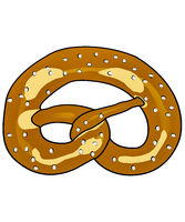 Simple drawn pretzel with salt