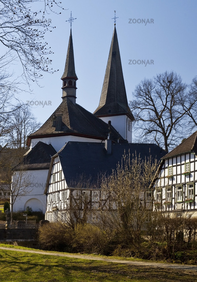 old town with parish church of St. Peter and Paul, Eslohe, Sauerland, Germany, Europe