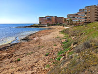 Coastal residential houses, calm Mediterranean Sea view, Spain