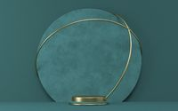 Mock up podium for product presentation textured circle with golden wires 3D