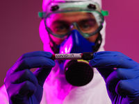 Coronavirus, Doctor holding positive covid-19 virus Blood Sample tube