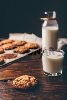Oatmeal Cookies and Glass of Milk.