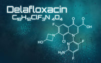Chemical formula of Delafloxacin on a futuristic background