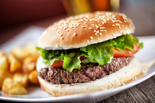 Fresh Hamburger With Fries. High quality photo