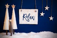Christmas Tree, Blue Background, Snow, Text Relax