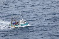 Fishing trawler in Brittany sea